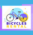 flat banner bicycles rental on white background vector image vector image