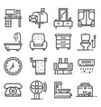 gray line house furniture icons set vector image