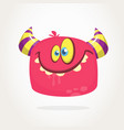 happy cartoon hairy monster with big teeth vector image