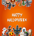 happy halloween poster card celebrations with stic vector image
