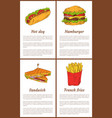hot dog and french fries set vector image vector image