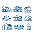 Isolated abstract blue color house contour logo vector image vector image