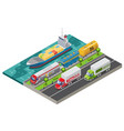 isometric logistic transportation concept vector image