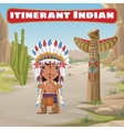 Itinerant Indian totem and cactus vector image