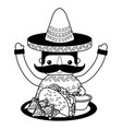 mexican man with hat and food vector image