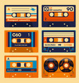 old school audio cassettes set vector image vector image