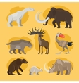 Prehistoric animals cartoon icons vector image