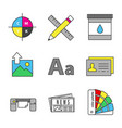 printing color icons set vector image