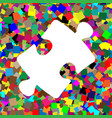 puzzle piece sign white icon on colorful