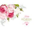 romantic flowers corner banner vector image vector image