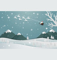 santa claus floating over the village in winter vector image vector image