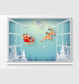 santa claus in christmas day outside window vector image vector image