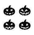 set black pumpkins for halloween isolated on white vector image vector image