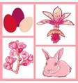 set of Easter rabbit eggs spring flowers vector image vector image