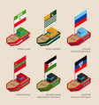 set of isometric ships with flags vector image vector image