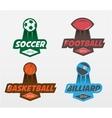 Set of Soccer Football basketball billiards
