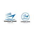set of speed boat logo design template sea boat vector image