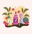 skincare cosmetics bottles vector image vector image