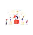 successful business team on podium teamwork vector image vector image