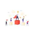 successful business team on podium teamwork vector image