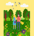summer vacation man and woman in park with guitar vector image vector image