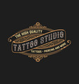 Tattoo logo template old lettering on dark