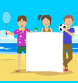 teenagers holding blank board at beach vector image vector image