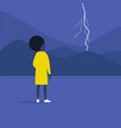 thunderstorm weather and nature young female vector image