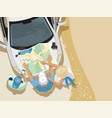 trip people car map vector image