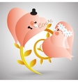Two doves with lover letter vector image vector image