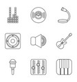 voice recording icons set outline style vector image vector image
