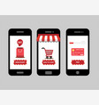 online shopping shop icon set on smartphone vector image