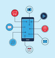 smartphone applications icons business marketing vector image