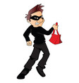 thief running with stolen handbag vector image