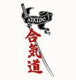 aikido katana ribbon vector image vector image