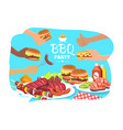 bbq party poster colorful vector image