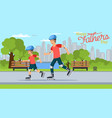 cartoon dad and son riding rollers in park vector image vector image