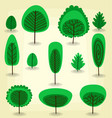 cartoon flat abstract artistic tree template set vector image vector image