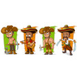 cartoon mexicans and cowboys character set vector image vector image
