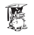cartoon piggy bank with graduation hat falling vector image vector image