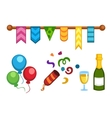 Celebration icons set party symbols vector image