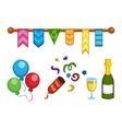 Celebration icons set party symbols vector image