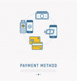 choosing of payment method in mobile app vector image vector image
