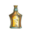 color drawn scotch bottle with style cork cap vector image vector image