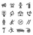 fire fighting icon set firefighter job vector image
