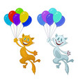funny cat with balloons set vector image