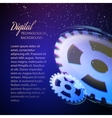 Gear-wheels over lights rays with dark background vector image vector image