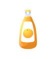 glass transparent bottle fresh natural orange vector image vector image