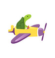 green turtle flying on yellow plane with purple vector image vector image