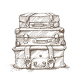 hand drawn stack suitcases vector image